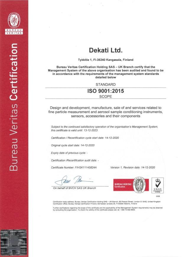 Dekati ISO 9001